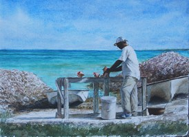 sheldon-saint-conch-stand-watercolor-on-paper